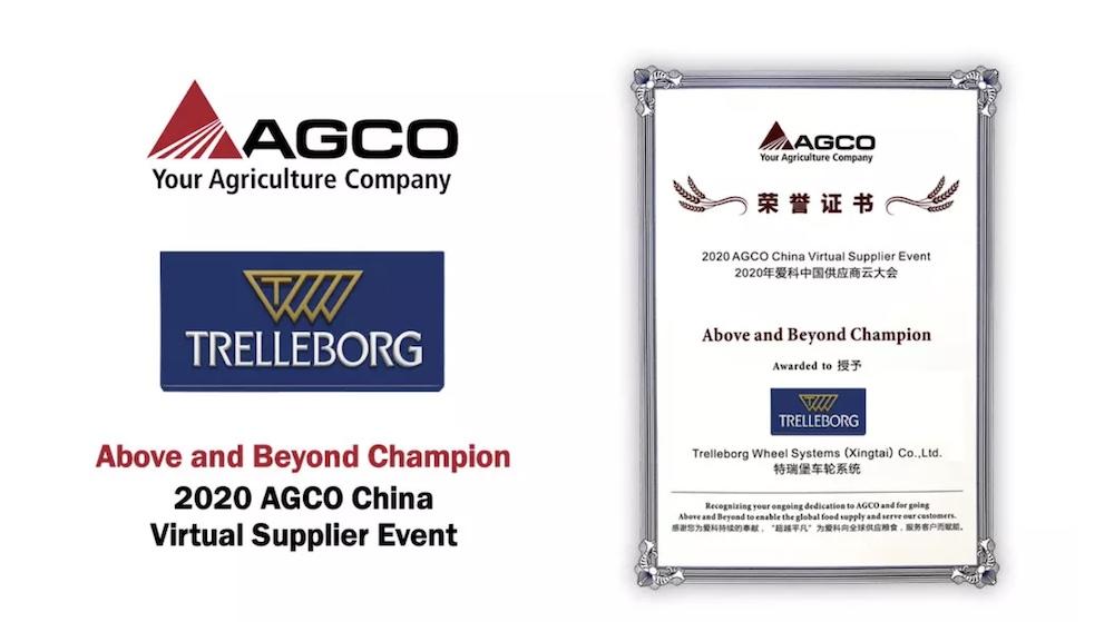 Trelleborg Wheel Systems: premiata da Agco come Top Fornitore